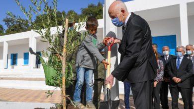 بمناسبة عيد الشجرة : رئيس الجمهورية يتحول الى مدرسة مها القضقاضي و يغرس شجرة زيتون